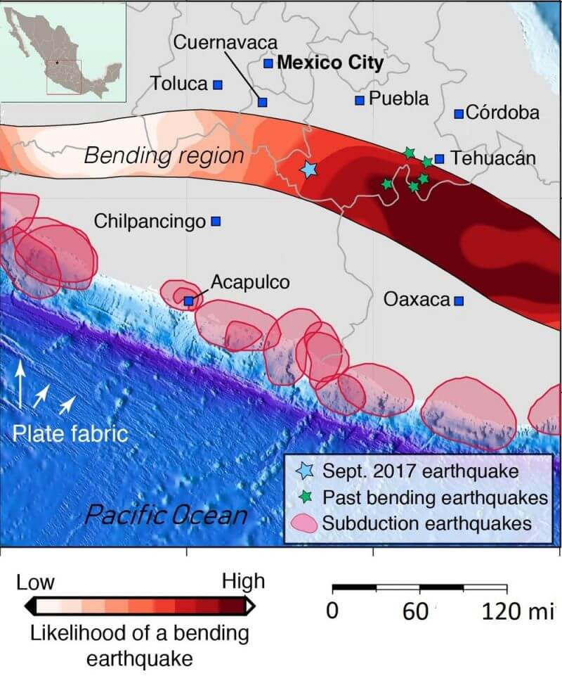 """The zone of potential """"bending"""" earthquakes, where the subducted tectonic plate that runs beneath Mexico"""
