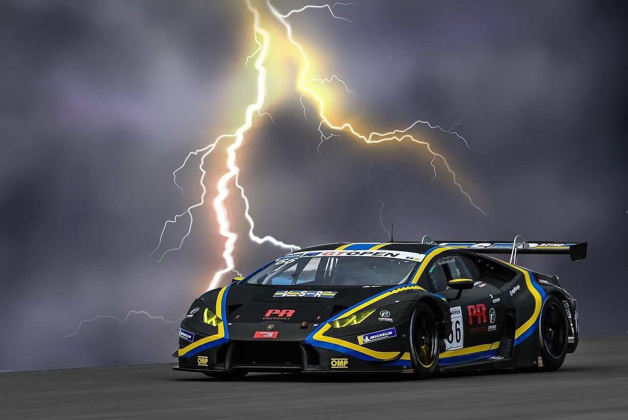 Lightning hitting car