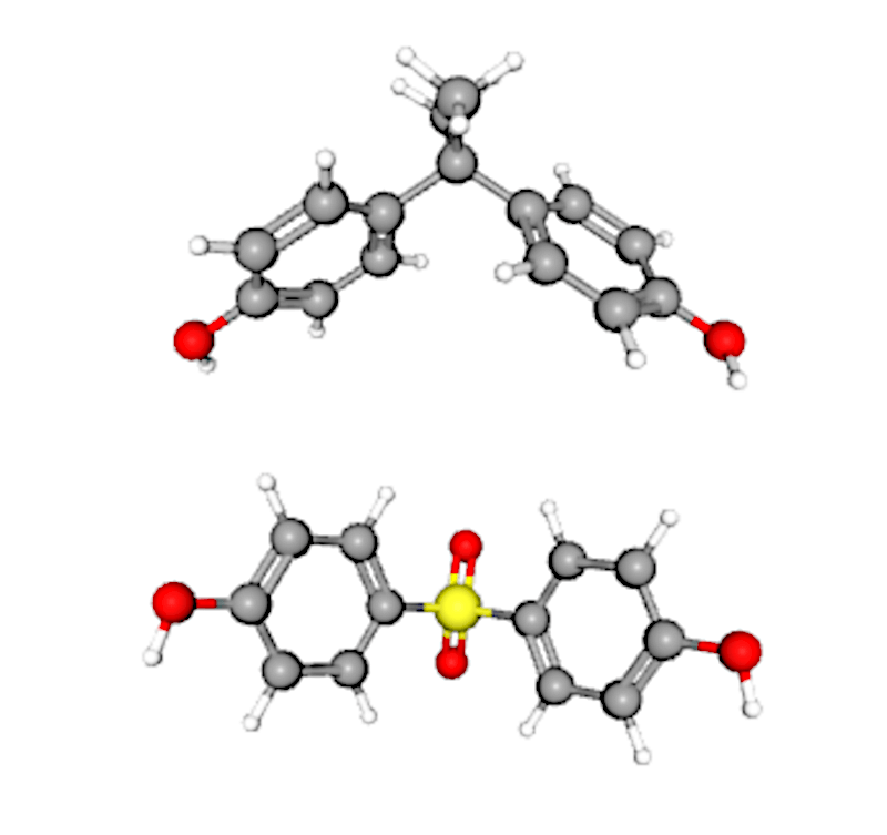 The chemical structures of BPA and BPS