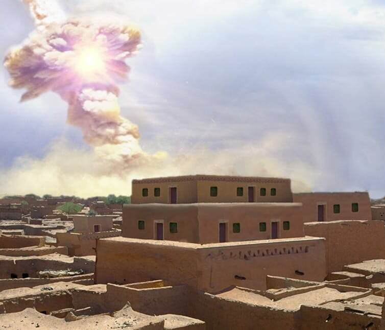 An artist's rendition of the airburst that destroyed Tall el-Hammam
